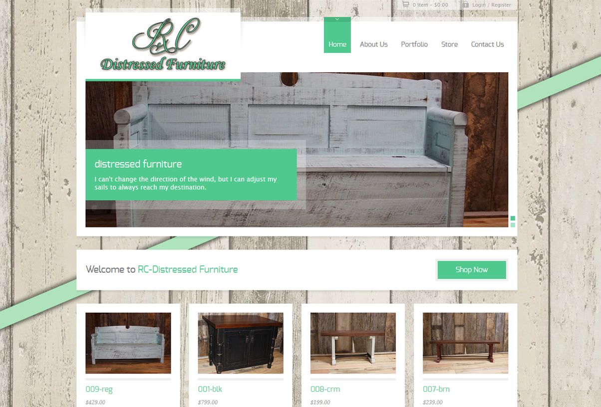 rc distressed custom website design